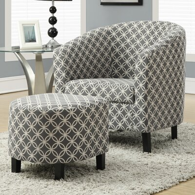 Brownell Barrel Chair and Ottoman Set Upholstery: Grey