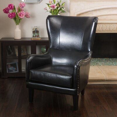 Full Sail High Back Wingback Chair Upholstery: Black