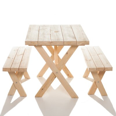 Yazoo Cross Leg Cedar Picnic Table and Benches Table Size: 34.5 W x 35.5 D