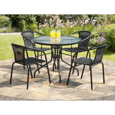 Overshores 5 Piece Dining Set Finish: Black
