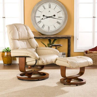 Broken Tooth Standard Manual Swivel Recliner with Ottoman Upholstery: Taupe