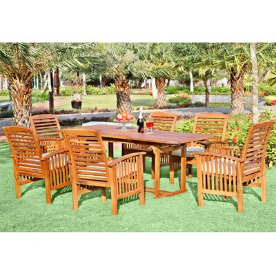 Ascencio 7 Piece Dining Set with Cushion Finish: Brown