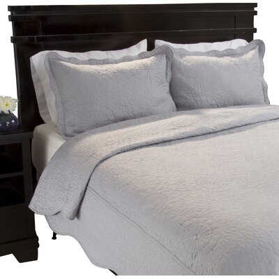 Flatrock Embroidered Quilt Set Color: Platinum, Size: Twin