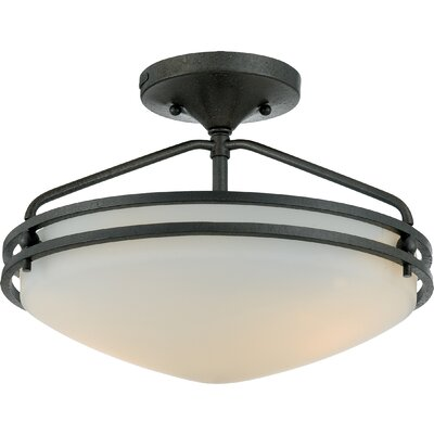 Black Birch Medium Semi Flush Mount Size: 12 H x 16.5 Dia, Finish: Iron Gate