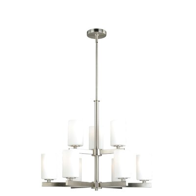 Listermann 9-Light Shaded Chandelier Finish: Satin Nickel