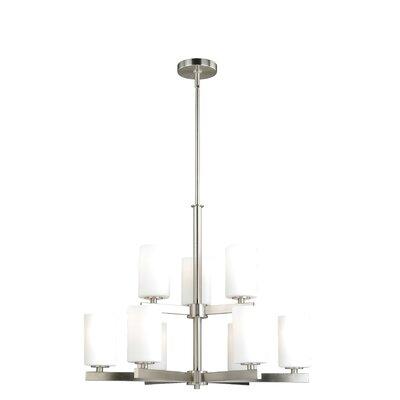 Listermann 9-Light Shaded Chandelier Finish: Satin Nickel