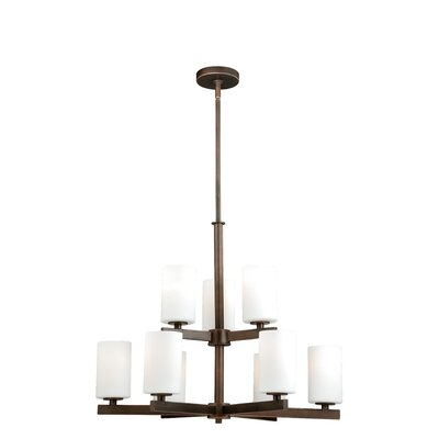 Listermann 9-Light Shaded Chandelier Finish: Sienna Bronze