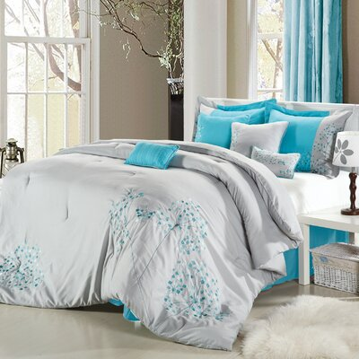 12 Piece Comforter Set Size: Queen, Color: Gray/Teal Blue