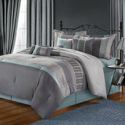 Rast 12 Piece Comforter Set Size: King, Color: Blue