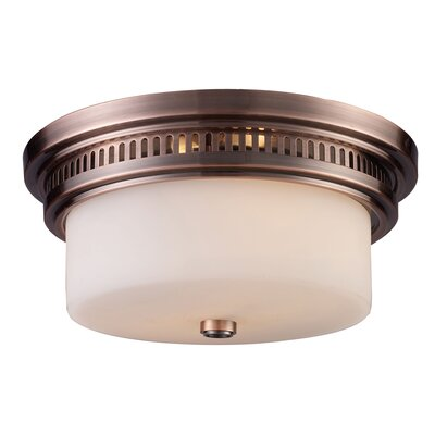 Roselawn 2-Light Flush Mount Finish: Antique Copper