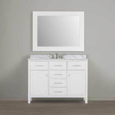 Halcomb 48 Single Vanity Set with Mirror Base Finish: White