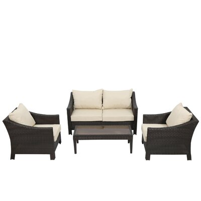 Aqueduct 5 Piece Conversation Set with Cushions Finish: Multi-Brown