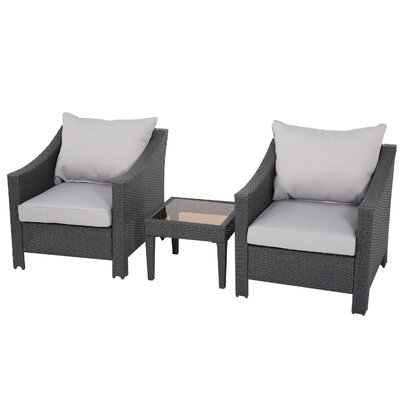 Eddings 3 Piece Deep Seating Group with Cushion Color: Grey