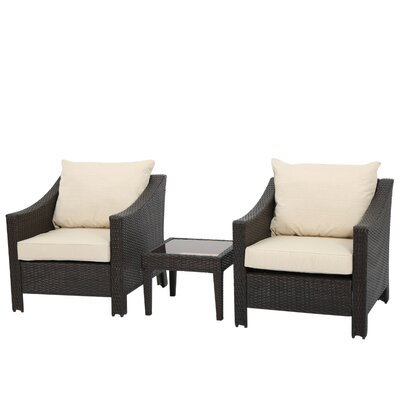Eddings 3 Piece Deep Seating Group with Cushion Color: Multi-Brown