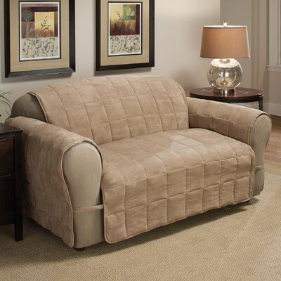 DuVig Box Cushion Loveseat Slipcover Upholstery: Natural