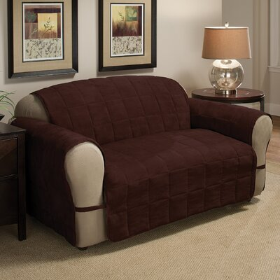 DuVig Box Cushion Loveseat Slipcover Upholstery: Chocolate