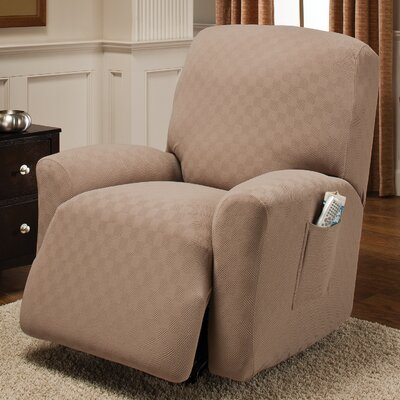 Box Cushion Recliner Slipcover Upholstery: Wheat