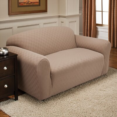 Box Cushion Loveseat Slipcover Upholstery: Wheat
