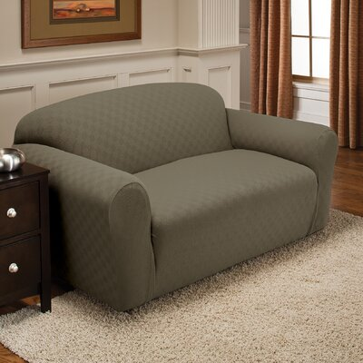 Box Cushion Loveseat Slipcover Upholstery: Sage