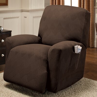 Levine Box Cushion Recliner Slipcover Upholstery: Chocolate