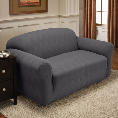Levine Box Cushion Loveseat Slipcover Upholstery: Gray