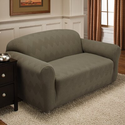 Madden Box Cushion Loveseat Slipcover Upholstery: Sage