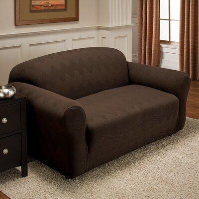 Madden Box Cushion Loveseat Slipcover Upholstery: Chocolate