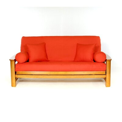 Box Cushion Futon Slipcover Upholstery: Orange