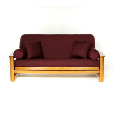 Box Cushion Futon Slipcover Upholstery: Burgundy