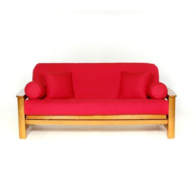 Box Cushion Futon Slipcover Upholstery: Red