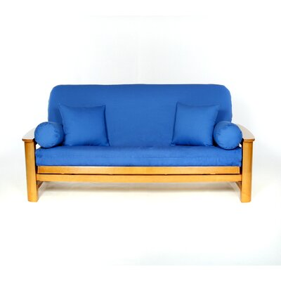 Box Cushion Futon Slipcover Upholstery: Cobalt