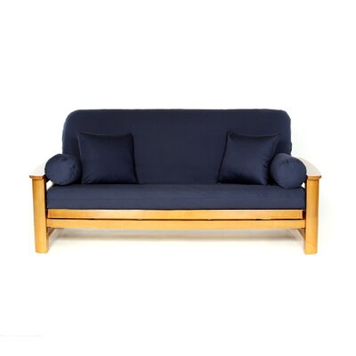 T-cushion Cotton Futon Slipcover Upholstery: Navy