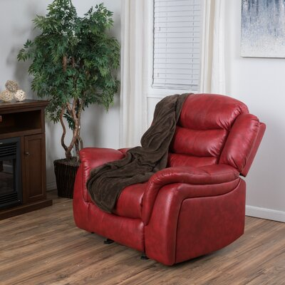 Mager Manual Glider Recliner Upholstery: Red