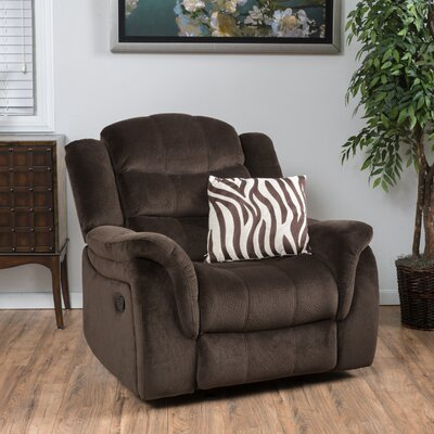 Texian Manual Glider Recliner Upholstery: Chocolate