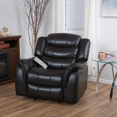Mager Manual Glider Recliner Upholstery: Black Berry