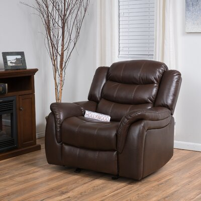 Mager Manual Glider Recliner Upholstery: Dark Brown
