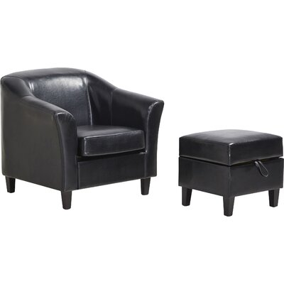 Lone Peak Club Chair and Ottoman Upholstery: Black