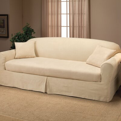 Goliath Box Cushion Sofa Slipcover Upholstery: Beige