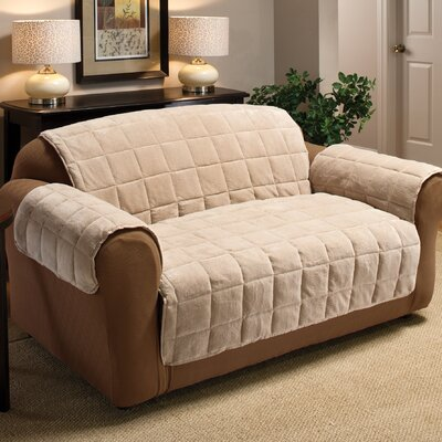 Burnham Box Cushion Loveseat Slipcover Color: Cream
