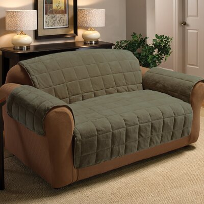 Burnham Box Cushion Loveseat Slipcover Upholstery: Olive
