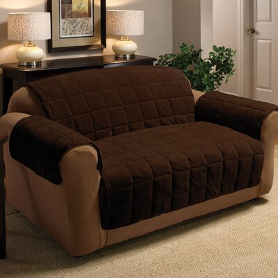 Burnham Box Cushion Loveseat Slipcover Upholstery: Chocolate