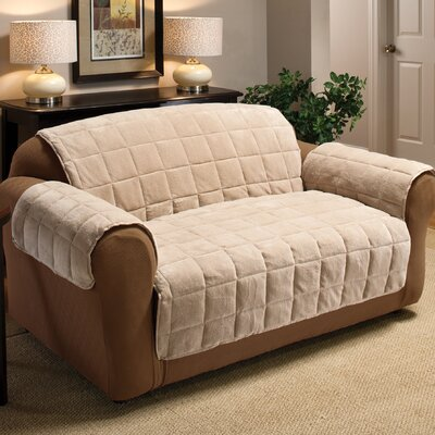 Burnham Box Cushion Loveseat Slipcover Upholstery: Cream