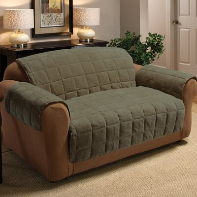 Burnham Box Cushion Sofa Slipcover Upholstery: Olive
