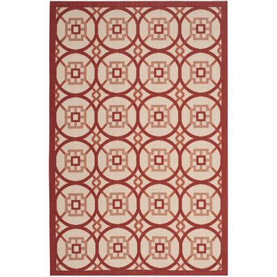 Caboose Beige/Red Indoor/Outdoor Area Rug Rug Size: 4 x 57