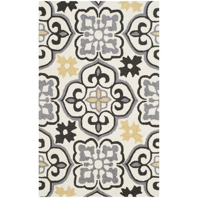 Blomquist Hand-Hooked Gray/Ivory Indoor/Outdoor Area Rug Rug Size: Rectangle 5 x 8