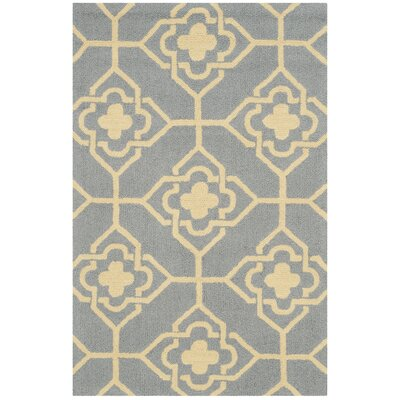 Greenbaum Hand-Hooked Gray/Gold Indoor/Outdoor Area Rug Rug Size: Rectangle 36 x 56