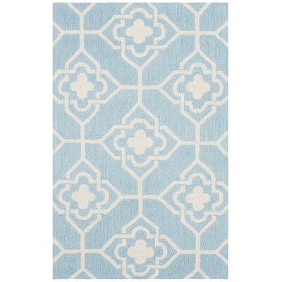 Rue Sauvage Hand-Hooked Light Blue/Ivory Indoor/Outdoor Area Rug Rug Size: Rectangle 36 x 56
