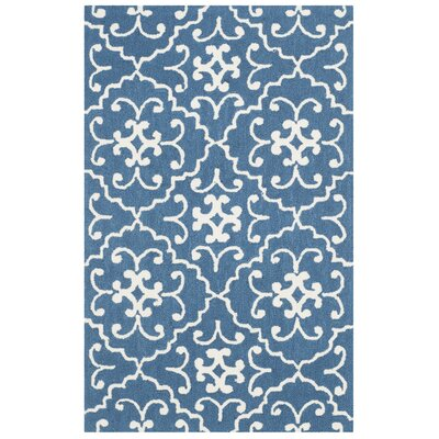 Adams Northwest Hand-Hooked Navy/Ivory Indoor/Outdoor Area Rug Rug Size: Rectangle 5 x 8