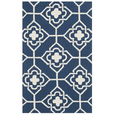 Hand-Hooked Navy/Ivory Indoor/Outdoor Area Rug Rug Size: Runner 23 x 8