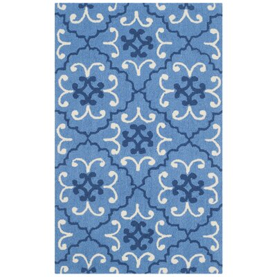 Hand-Hooked Blue/Ivory Indoor/Outdoor Area Rug Rug Size: 36 x 56